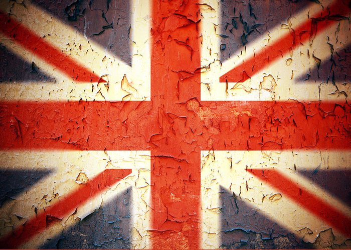 Aged Greeting Card featuring the photograph Vintage Union Jack by Jane Rix