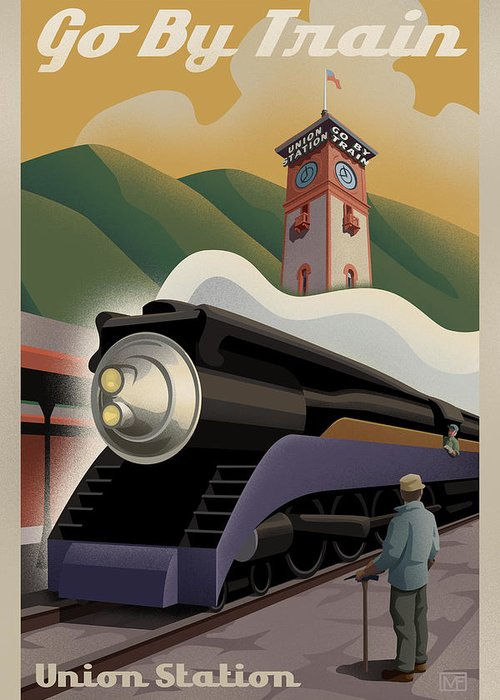 Union Station Greeting Card featuring the digital art Vintage Union Station Train Poster by Mitch Frey