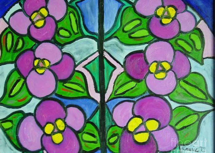 Violets Greeting Card featuring the painting Vintage Violets by Laurie Morgan