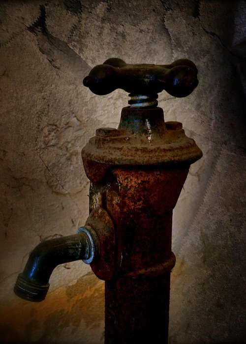 Vintage Water Faucet Greeting Card featuring the photograph Vintage Water Faucet by Heinz G Mielke