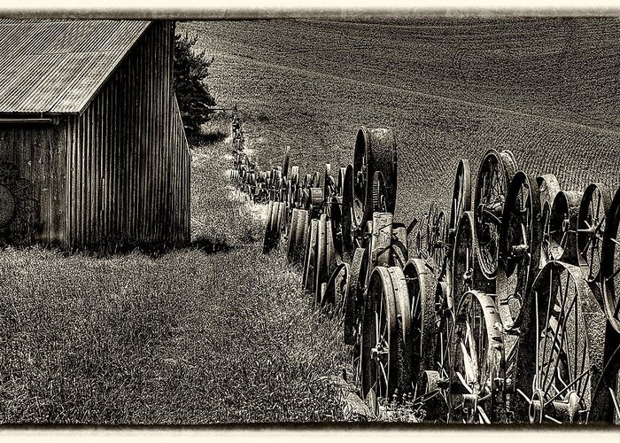 Wagon Wheels Greeting Card featuring the photograph Vintage Wheel Fence by David Patterson