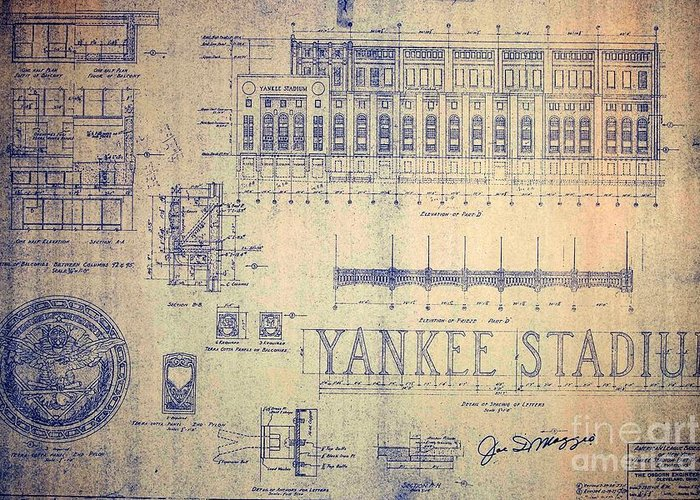 Joe Dimaggio Greeting Card featuring the drawing Vintage Yankee Stadium Blueprint by Peter Ogden Gallery
