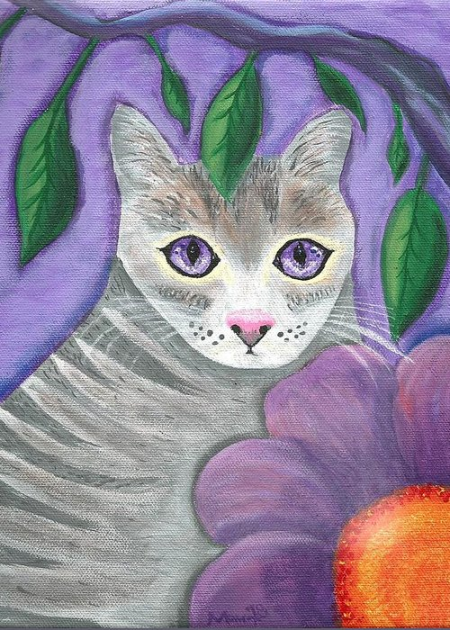 Violet Purple Lavender Eyes Kitty Cat Flower Floral Tabby Grey Greeting Card featuring the painting Violet Eyed Cat by Monica Resinger