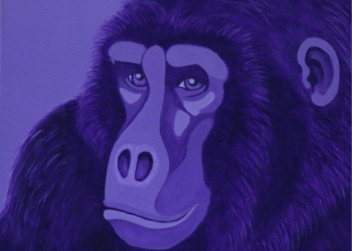 Violet Gorilla Greeting Card
