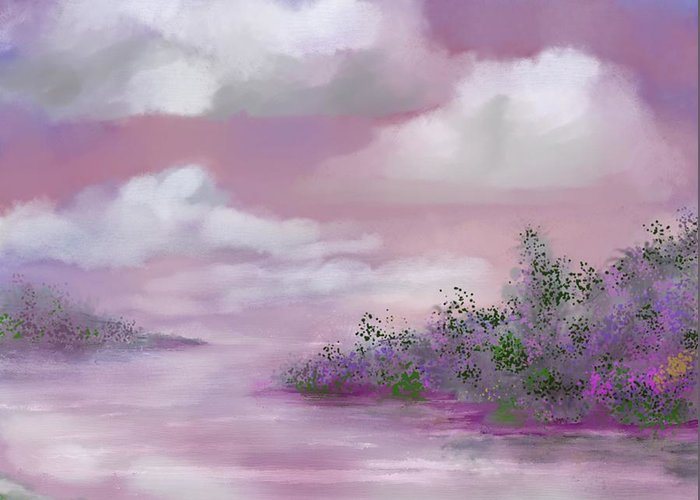 Landscape Greeting Card featuring the painting Violet Sunset by Judy Filarecki
