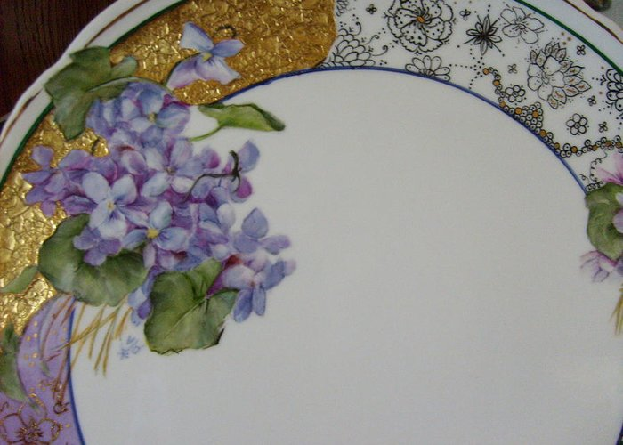 Greeting Card featuring the ceramic art Violets by Verna Jean Dawson