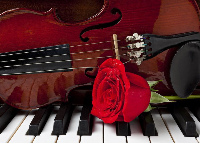 Violin Greeting Card featuring the photograph Violin And Rose On Piano by Garry Gay