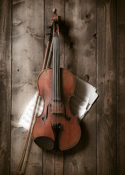 Bow Greeting Card featuring the photograph Violin by Garry Gay