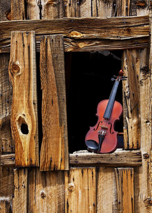 Viola Greeting Card featuring the photograph Violin In Window by Garry Gay
