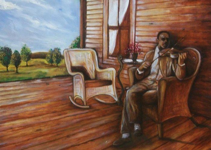 Emery Franklin Greeting Card featuring the painting Violin Man by Emery Franklin
