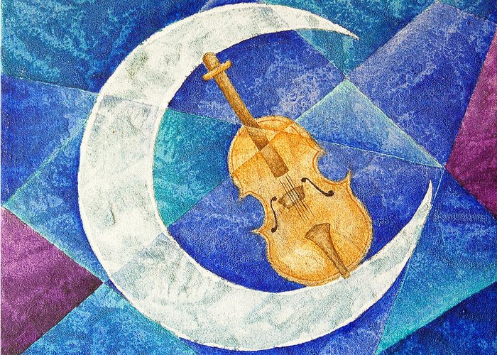 Moon Greeting Card featuring the painting Violin-Moon by Son Of the Moon