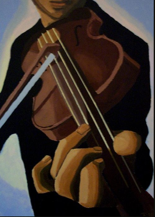 Portrait Greeting Card featuring the painting Violin Player by Mats Eriksson