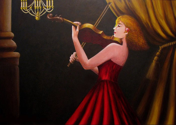 Oil Greeting Card featuring the painting Violinist by Anh T Chau