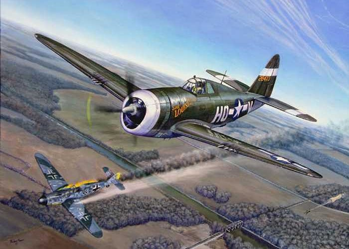 The 352nd Fighter Groups First Ace Shoots Down The German Ace Klaus Mietush On March 8th 1944 Greeting Card featuring the painting Virgil Meroney Downs Klaus Mietush by Scott Robertson