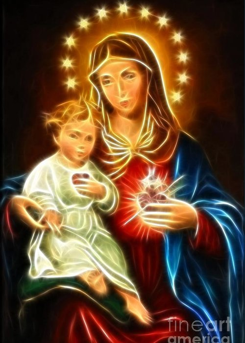 Virgin Mary Greeting Card featuring the mixed media Virgin Mary And Baby Jesus Sacred Heart by Pamela Johnson
