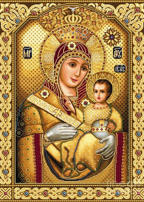 Virgin Mary Of Bethlehem Icon Orthodox Needlework Jesus Child Greeting Card featuring the tapestry - textile Virgin Mary Of Bethlehem Icon by Stoyanka Ivanova