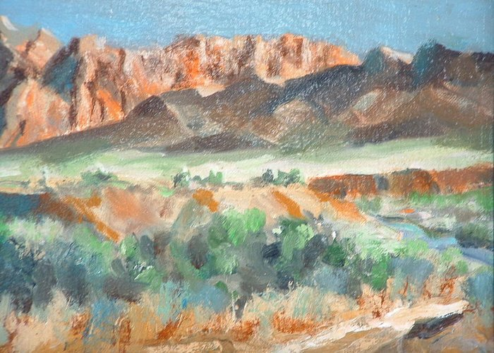 Landscape At First Light Virgin River Gorge Mesquite Greeting Card featuring the painting Virgin River Gorge by Bryan Alexander