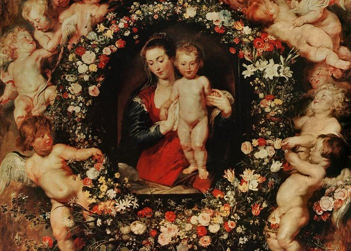 Rubens Greeting Card featuring the painting Virgin With A Garland Of Flowers by Peter Paul Rubens