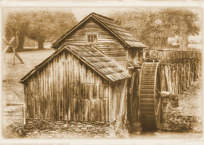 Mabry Mill Greeting Card featuring the photograph Virginia Country Roads - Mabry Mill No. 23 Sepia - Blue Ridge Parkway, Floyd County by Michael Mazaika