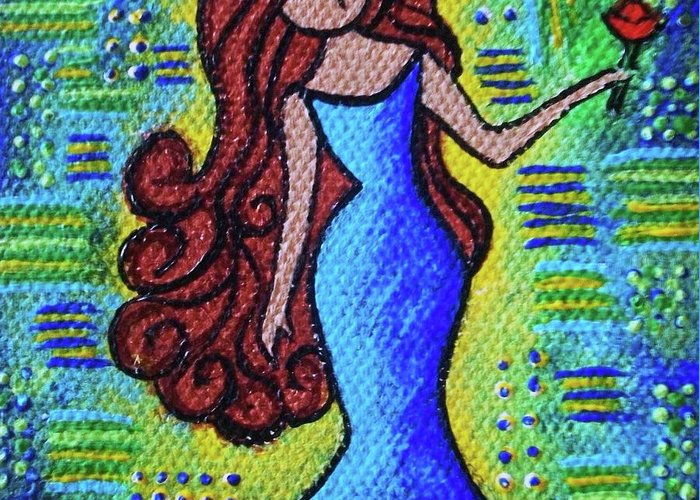 Garden Greeting Card featuring the painting Virgo Y Flor by Ines Rivera