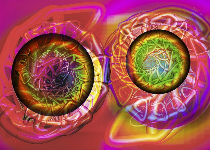 Crazy Greeting Card featuring the digital art Vision 42 by Jacques Raffin