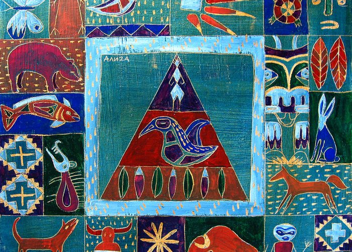 Native Greeting Card featuring the painting Vision Of Native North America by Aliza Souleyeva-Alexander