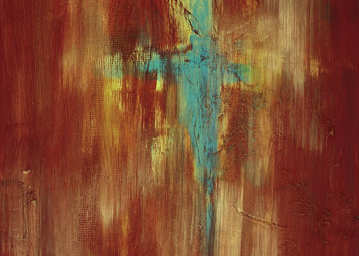 Abstract Greeting Card featuring the painting Vision Quest by Tara Moorman
