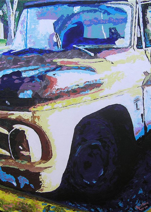 Truck Greeting Card featuring the painting Visions Of Alpine Revisited by Ricklene Wren
