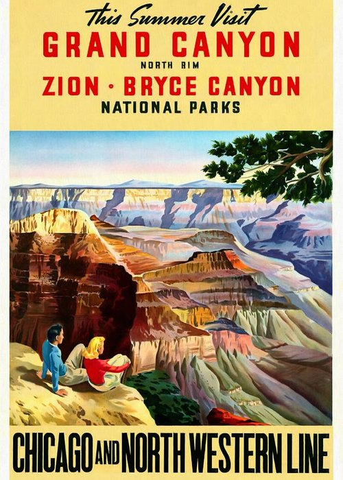 Grand Canyon Vintage Posters Greeting Card featuring the mixed media Visit Grand Canyon - Restored by Vintage Advertising Posters