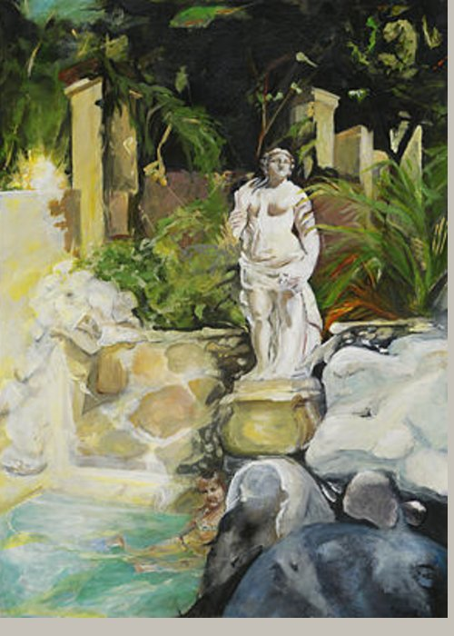 Statue Greeting Card featuring the painting Visitor by Michelle Winnie