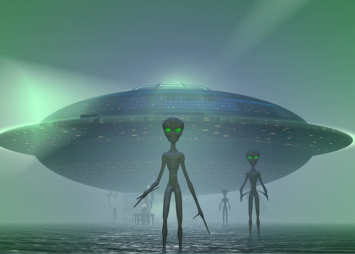 Alien Greeting Card featuring the digital art Visitors by Carol and Mike Werner