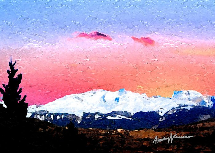 Mountain Greeting Card featuring the painting Vista by Anthony Caruso