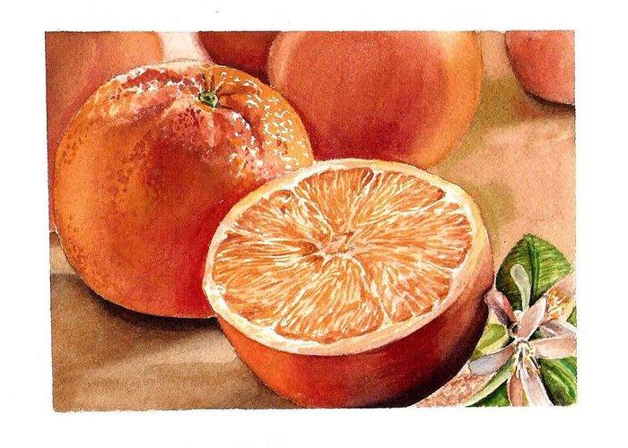 Orange Greeting Card featuring the painting Vitamin C by Irina Sztukowski