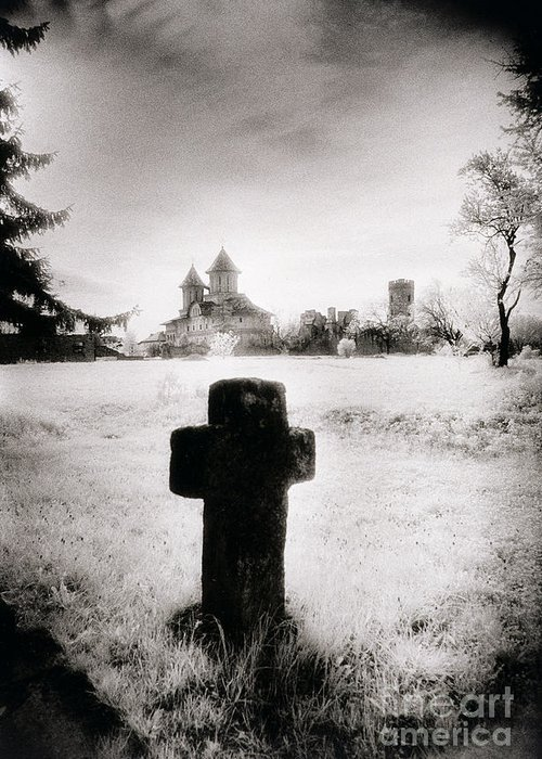 Vampire; Ghostly; Cross; Tombstone; Dracula Greeting Card featuring the photograph Vlad Draculas Palace by Simon Marsden