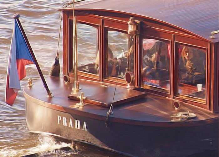 River Boat Greeting Card featuring the painting Vltava River Boat by Shawn Wallwork