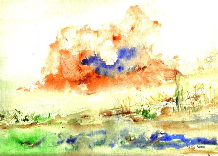 Landscape Greeting Card featuring the painting Volcano by Hema Rana