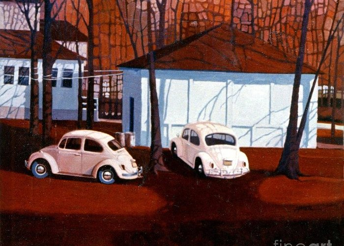 Volkswagon Beetle Greeting Card featuring the painting Volkswagons in Red by Donald Maier