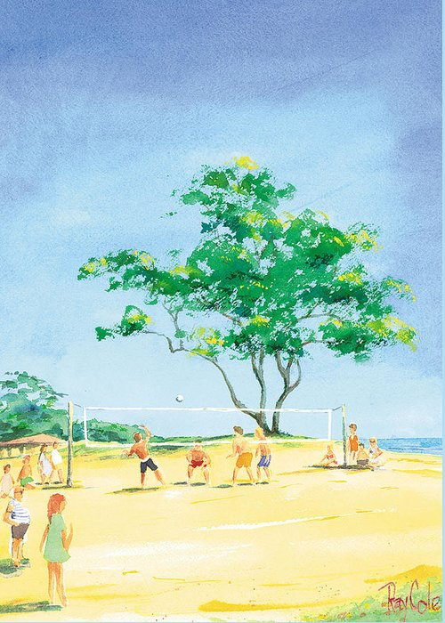 Volleyball Greeting Card featuring the painting Volleyball Anyone by Ray Cole