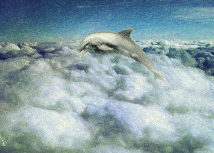 Dolphin Greeting Card featuring the painting Voyage by Taylan Apukovska