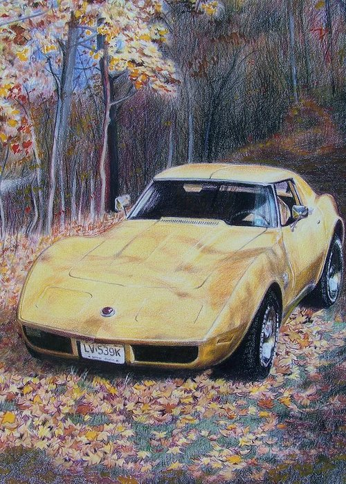 Car Greeting Card featuring the mixed media Vrooom by Constance Drescher
