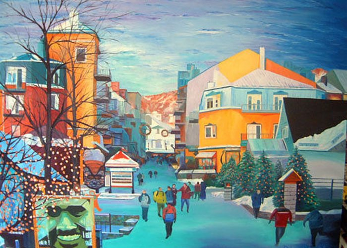 Ski Hill Greeting Card featuring the painting Vue Du Diable by Blaine Filthaut