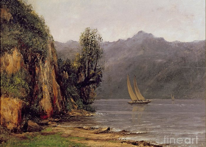 Vue Greeting Card featuring the painting Vue Du Lac Leman by Gustave Courbet