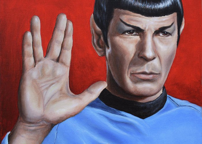 Leonard Nimoy Greeting Card featuring the painting Vulcan Farewell by Kim Lockman