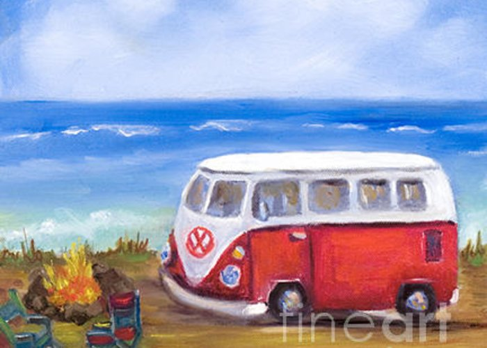 Vw Bus Prints Greeting Card featuring the painting Vw Bus by Pati Pelz