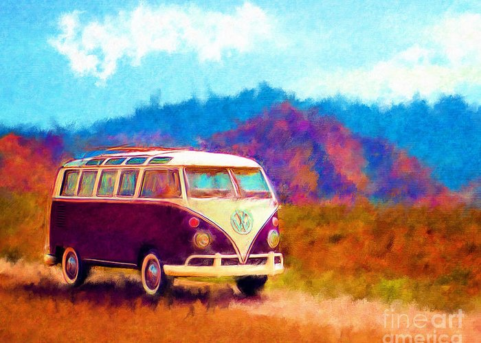 Automobile Greeting Card featuring the digital art Vw Van Classic by Marilyn Sholin