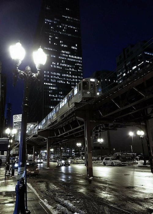 Chicago Greeting Card featuring the photograph Wabash El by Sue Conwell
