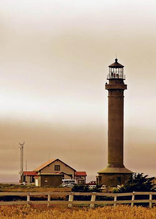 Point Arena Lighthouse Greeting Card featuring the photograph Wacky Weather At Point Arena Lighthouse - California by Christine Till