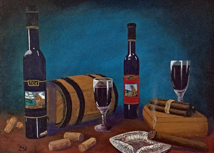Still Life Painting Wine Bottles Cigars Smoke Wooden Boxes Ashtray Corks Port Wine Dessert Wine Wooden Barrels Colorful Acrylic Painting For Sale Texas Country Winery Glasses Reflections Display Art Canvas Fine Art Work Humidor Event Monticristo Havana Hill Country Vineyards  Greeting Card featuring the painting Waco Winery by Pete Souza