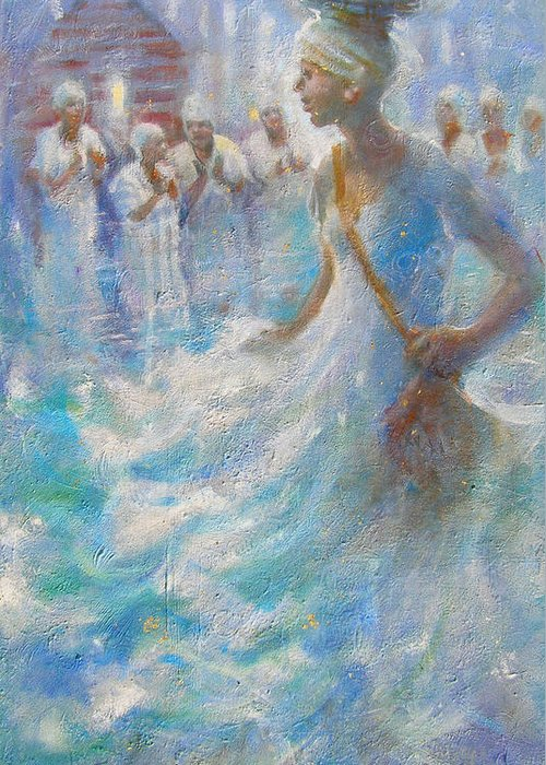 Slave Greeting Card featuring the painting Wade In The Water by Gertrude Palmer