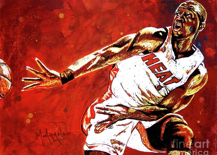 Dwyane Wade Greeting Card featuring the painting Wade Passes by Maria Arango
